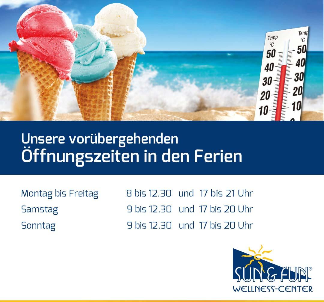 Sonnenstudio und Solarium Sun & Fun Wellness Center - Öffnungszeiten Sommerferien 2021